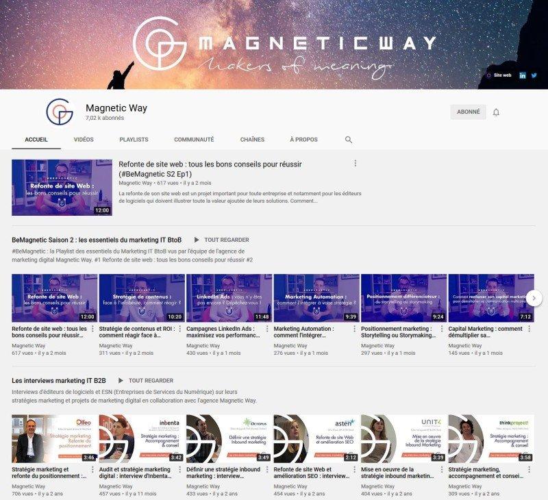 Chaine YouTube sur le marketing de Magnetic Way
